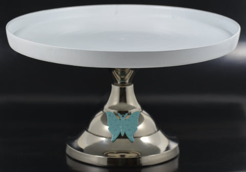 "White Cake Stand with Turquoise Butterfly (10"" Cake Holder) - Vibhsa"