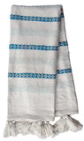 Hand loom Woven Throw Turquoise & White - Vibhsa