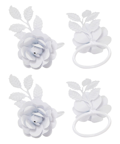 Vibhsa Decorative Rose Napkin Rings Set of 4 (White) - Vibhsa