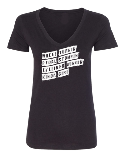 Wheel Turnin V Neck -Black