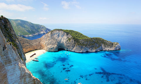 Get a bird's eye view of bright blue bays on your honeymoon in Greece