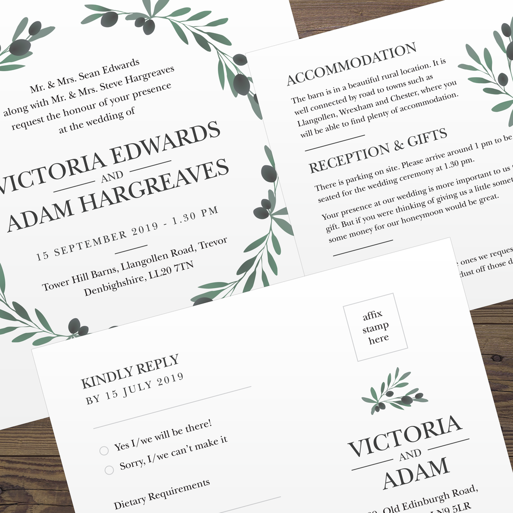 Wedding Invitation Set - Olive Branch