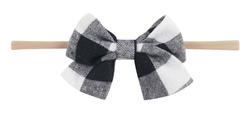 White Plaid Bow