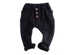 Black Fleece Button Joggers