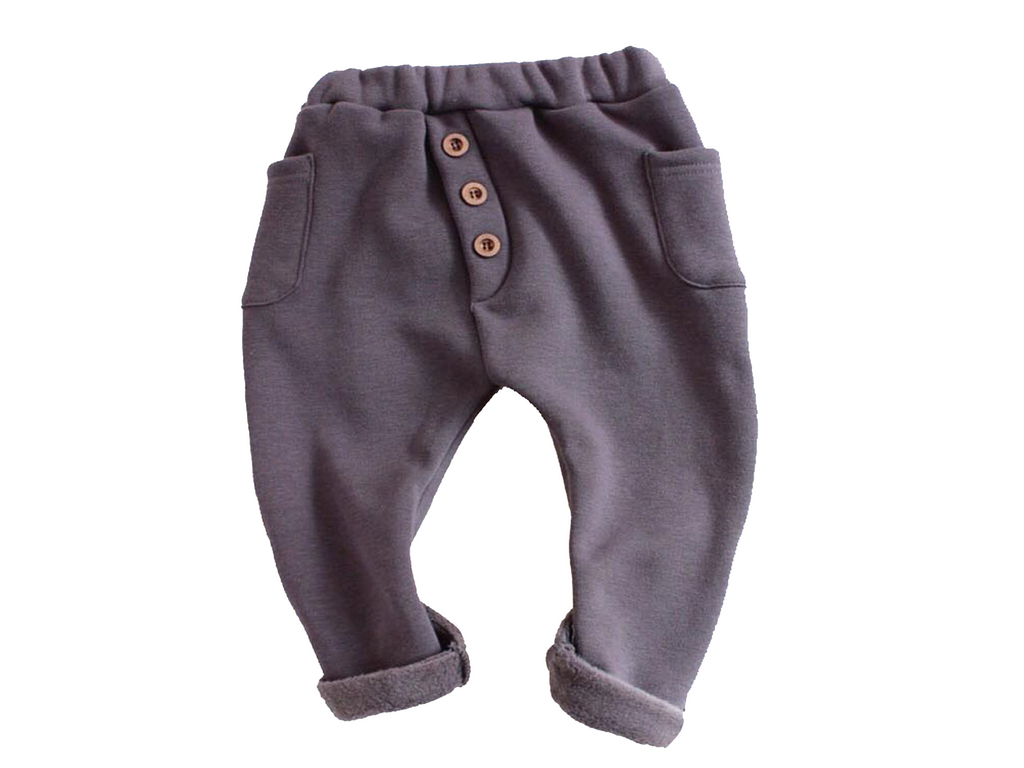 Grey Fleece Button Joggers