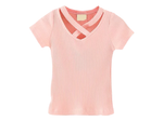Pink Cross-Neck Tee