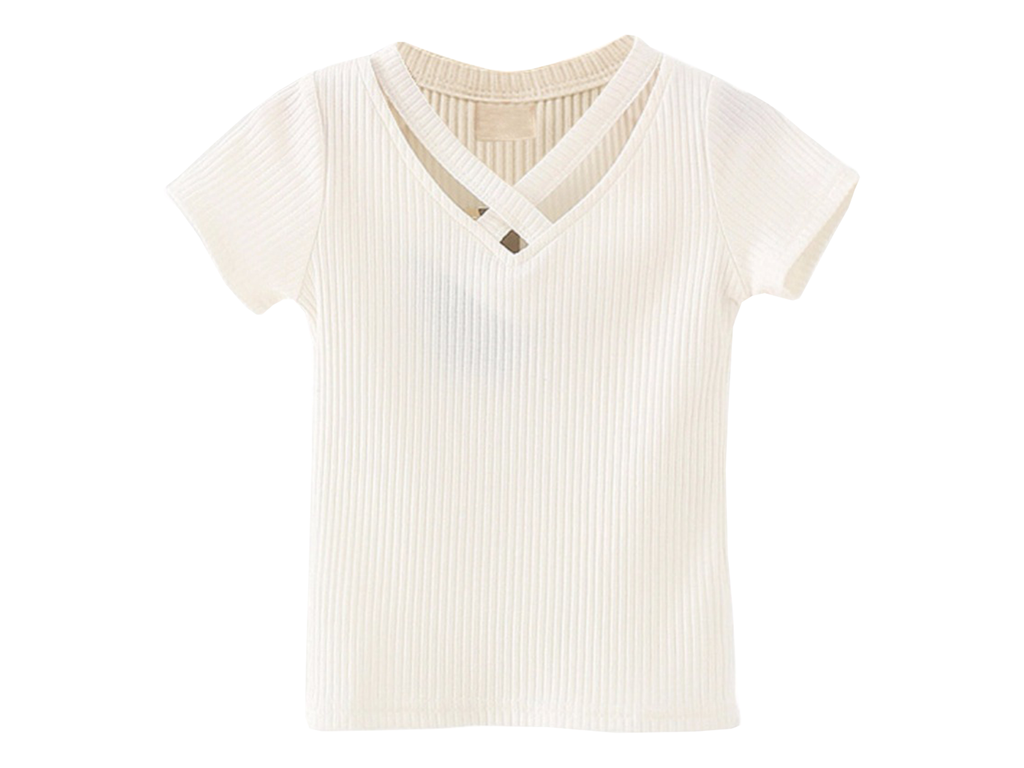 White Cross-Neck Tee