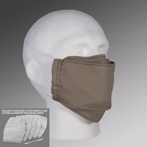 Filter Pocket Face Mask - Khaki with Straps & Filters