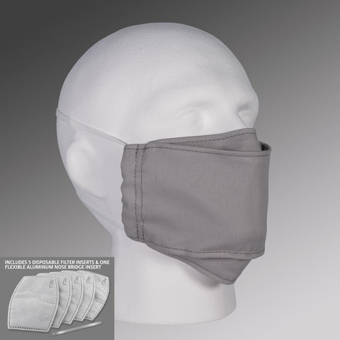 Filter Pocket Face Mask - Gray with Straps & Filters