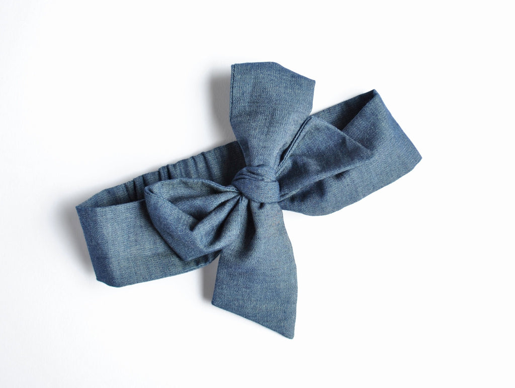 Dark Denim Large Bow Headband