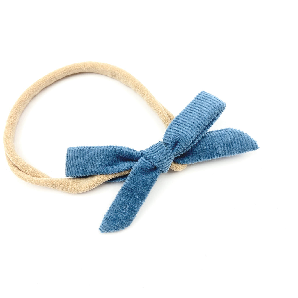 Blueberry Velvet Cord Orla Bow Headband