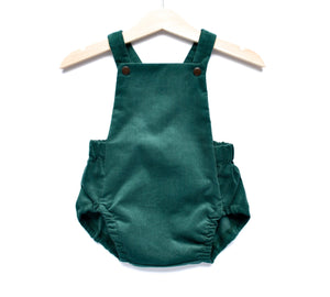 Moss Green Baby Needlecord Short Romper