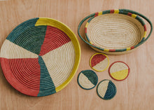 Load image into Gallery viewer, Color Blocked Dipped Raffia Oval Basket