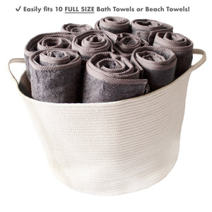 Rope Basket 23x13x17 Extra Large Laundry Baskets Blanket Basket Storage Blankets by iRGONOMICo™