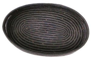 Black Raffia Oval Tray