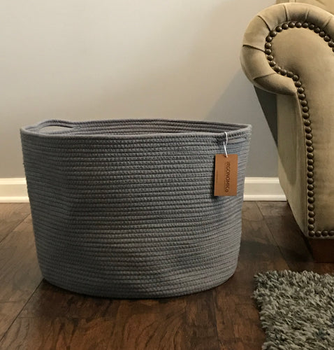 Extra Large Grey Cotton Rope Storage Baskets