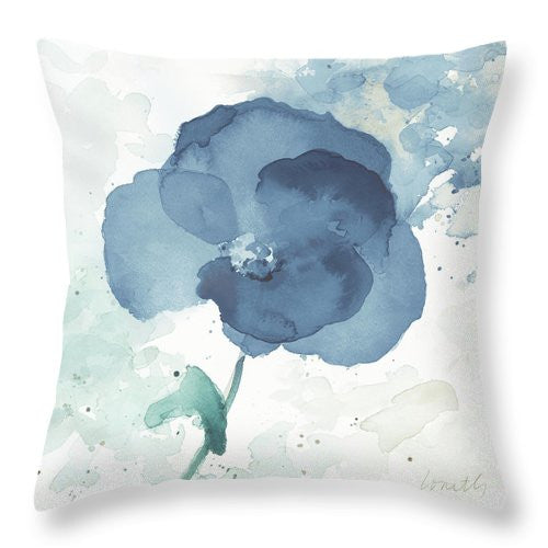 Translucent Blue Poppy I Throw Pillow
