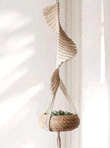 Handwoven Hanging Flower Pot Basket Tray