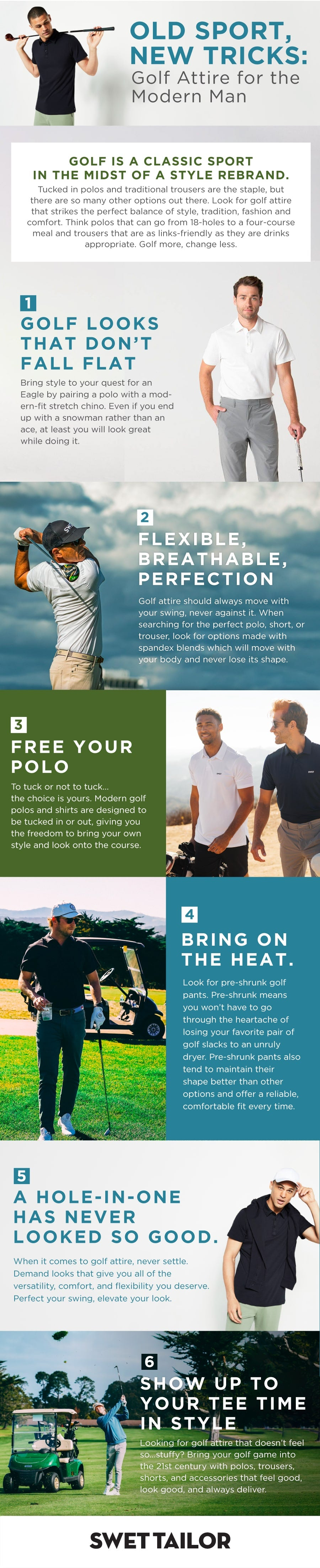 infographic about modern golf attire for men