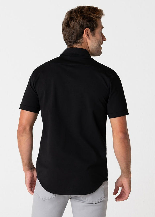 Short-Sleeve Polished Shirt | Black