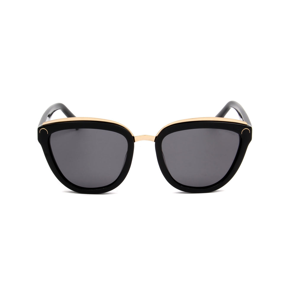 Amelie Jet Black - Front View - Grey lens - Mawu Sunglasses
