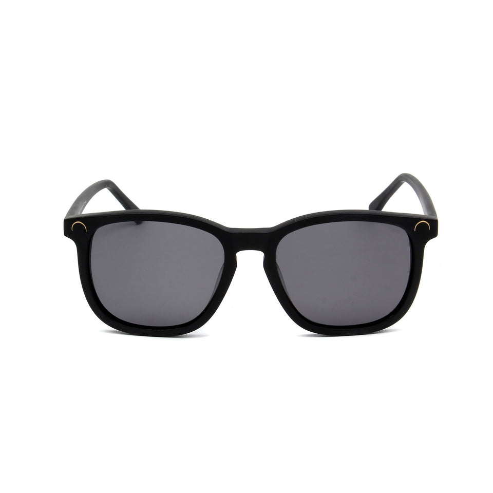Hendaye Matte Black - Front View - Grey lens - Mawu Sunglasses