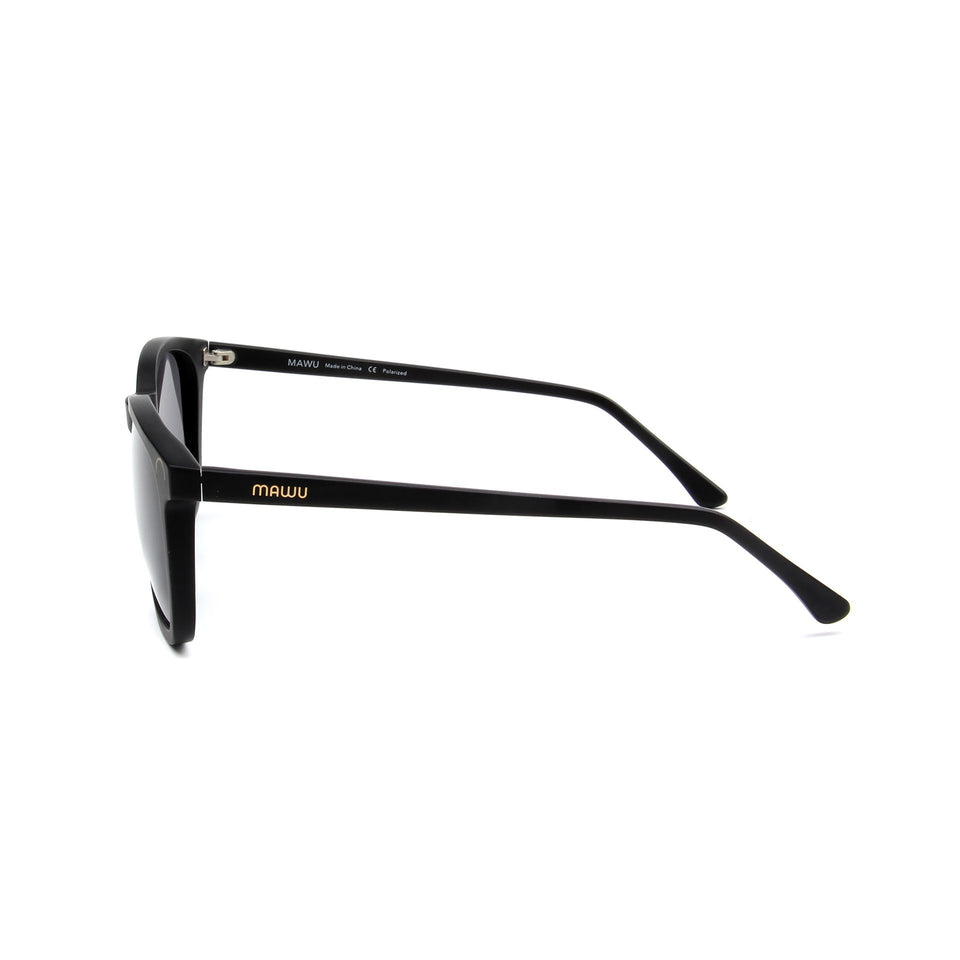 Hendaye Matte Black - Side View - Grey lens - Mawu Sunglasses
