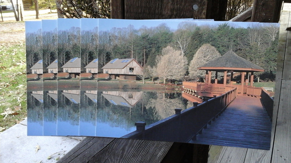 Set of 5 postcards of the Norton Pond and gazebo at CDF Haley Farm