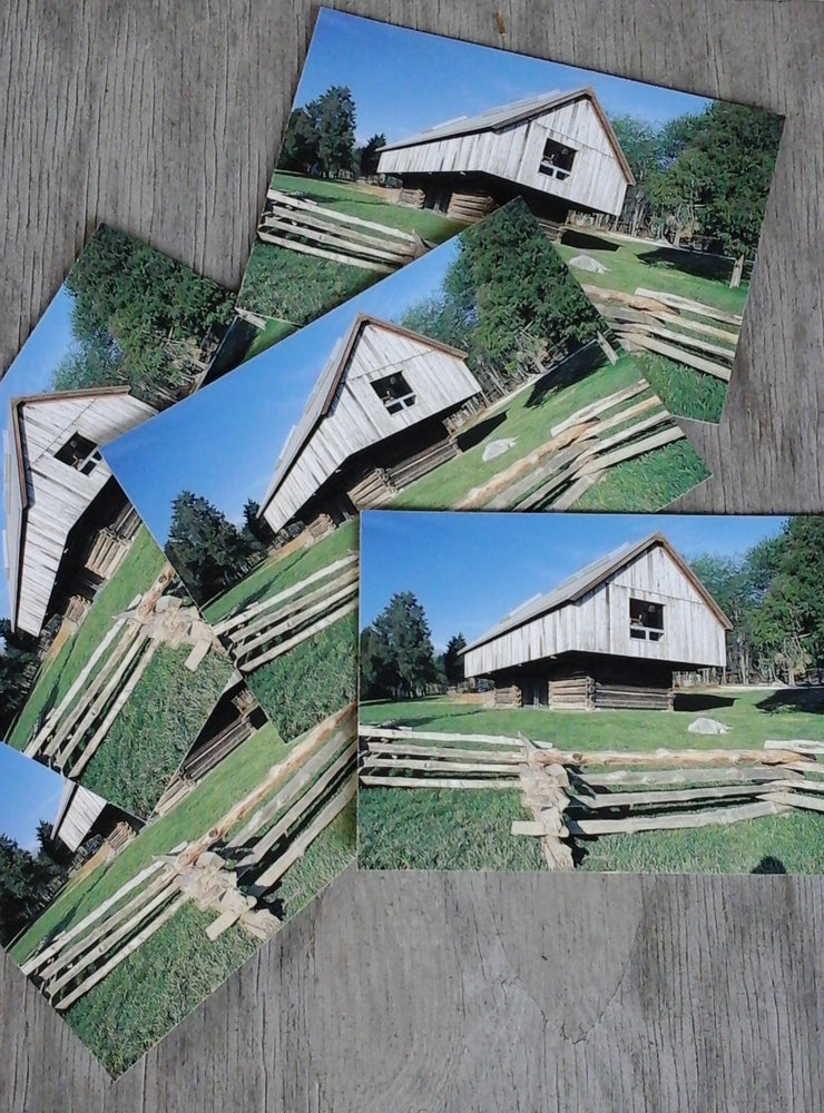 Set of 5 postcards of the Langston Hughes Library inside an 1880s cantilever barn, design by Maya Linn