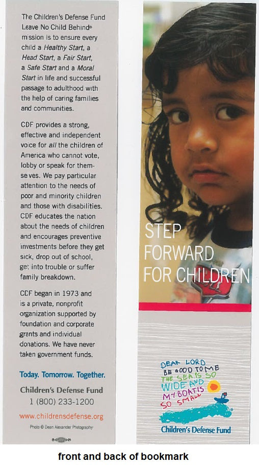 Set of 5 Step Forward for Children bookmarks featuring a Latina child
