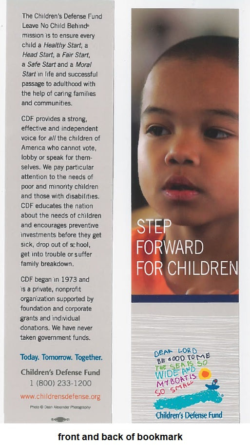 Set of 5 Step Forward for Children bookmarks featuring an Asian child