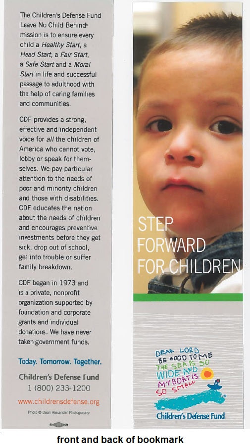 Set of 5 Step Forward for Children bookmarks featuring a Caucasian child