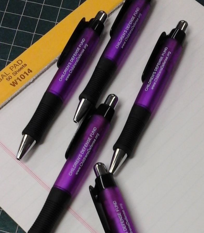 "Set of 5 ink pens labeled ""Children's Defense Fund www.ChildrensDefense.org"""