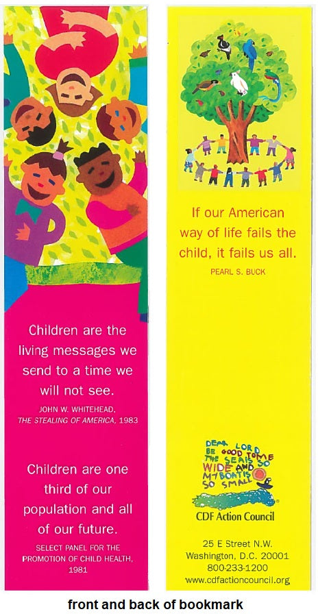 "Set of 5 ""Children are the Living Messages"" bookmarks"