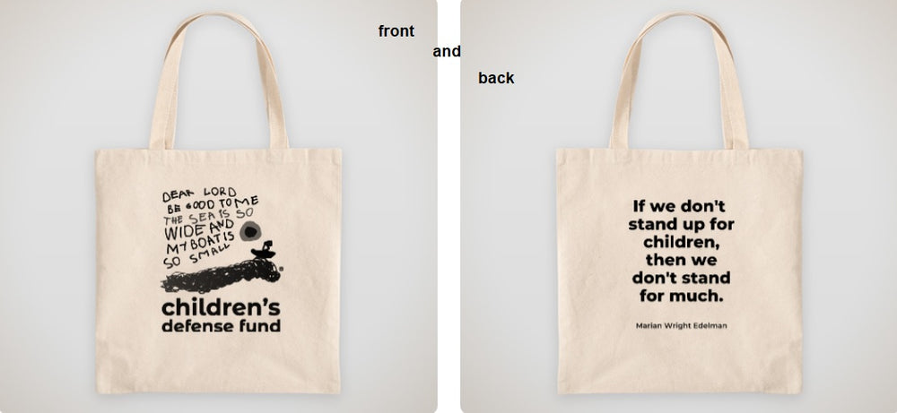 CDF logo tote bag with Mrs. Edelman's quote