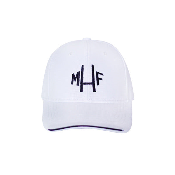 White Cap with Navy Logo