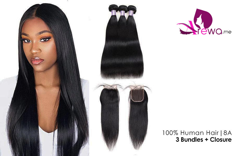 Human Hair Straight Bundles 18 x 18 x 18 + Closure | 8A