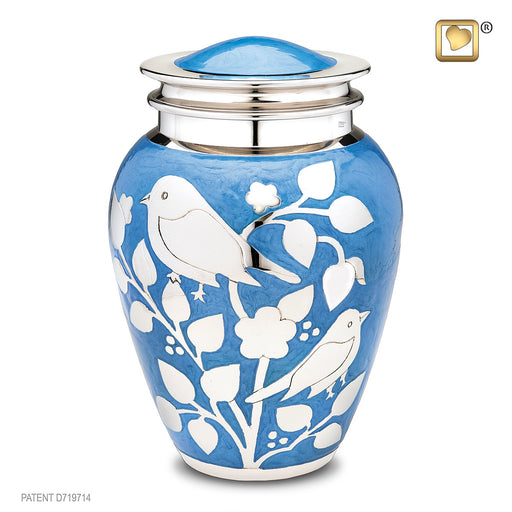 Adult Silver Blessing Birds Cremation Urn