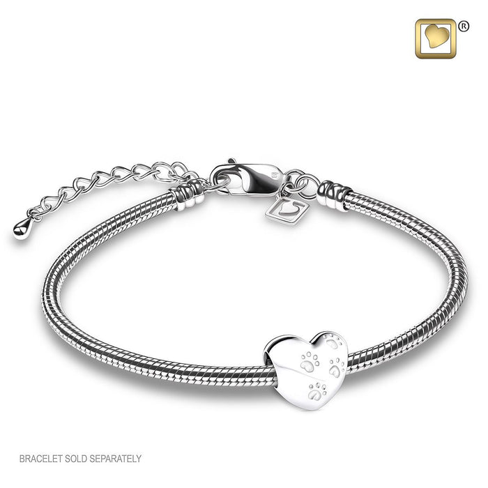 BEAD LoveHeart™ With Paws Rhodium Plated