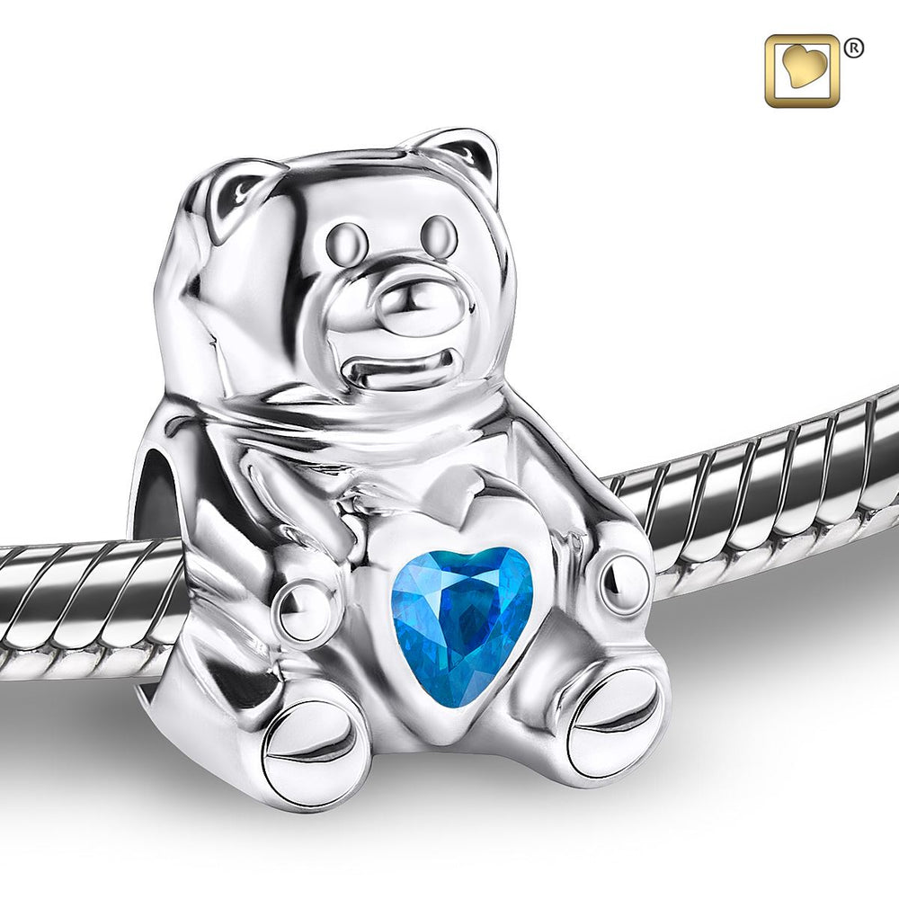 BEAD CuddleBear™ Rhodium Plated with Blue Crysta