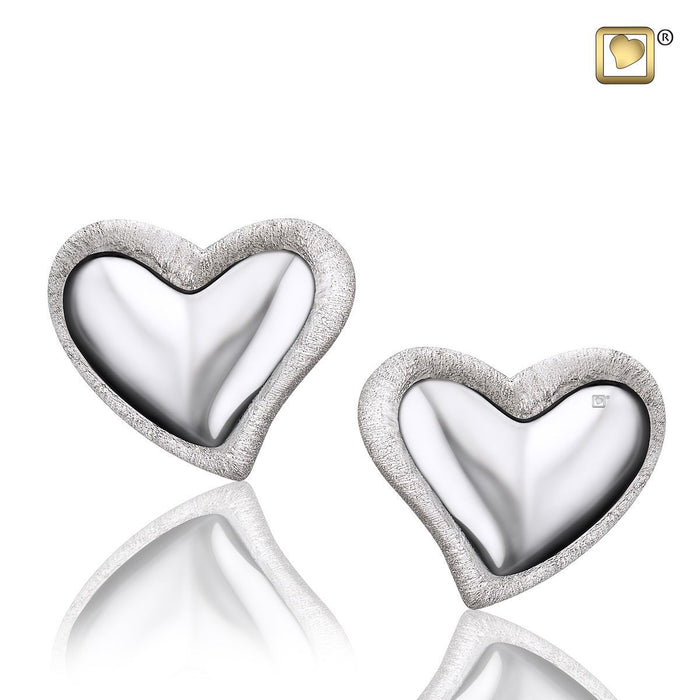 STUD EARRINGS Leaning Heart™ Rhodium Plated Two Tone