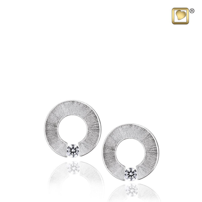STUD EARRINGS Omega™ Rhodium Plated Two Tone with Clear Crystal