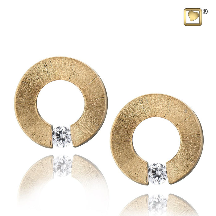 STUD EARRINGS Omega™ Gold Vermeil Two Tone with Clear Crystal