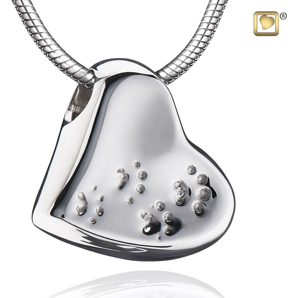 PENDANT Leaning Heart with Paw Prints™ Rhodium Plated Two Tone