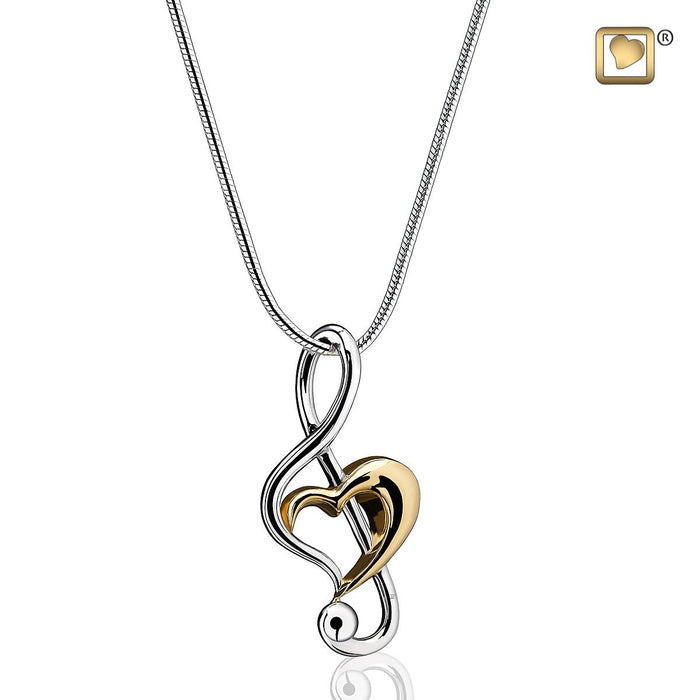 PENDANTTreble Clef Heart™ Rhodium Plated Gold Vermeil Two Tone