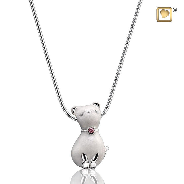 PENDANT Princess Cat™ Pearl Enamel Rhodium Plated with Pink Swarovski™Crystal
