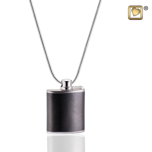 PENDANT Flask Ruthenium Plated Two Tone