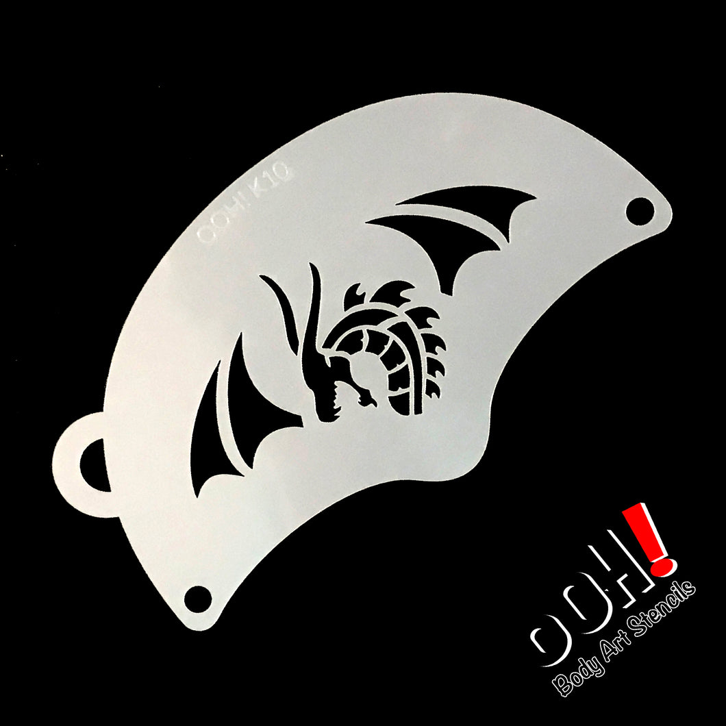 K10 Tribal Dragon Mask Face Paint Stencil
