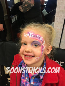 Flower Face Paint Stencil Design