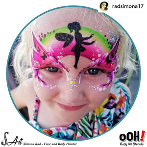 C12 Flying Fairy Flip Face Paint Stencil